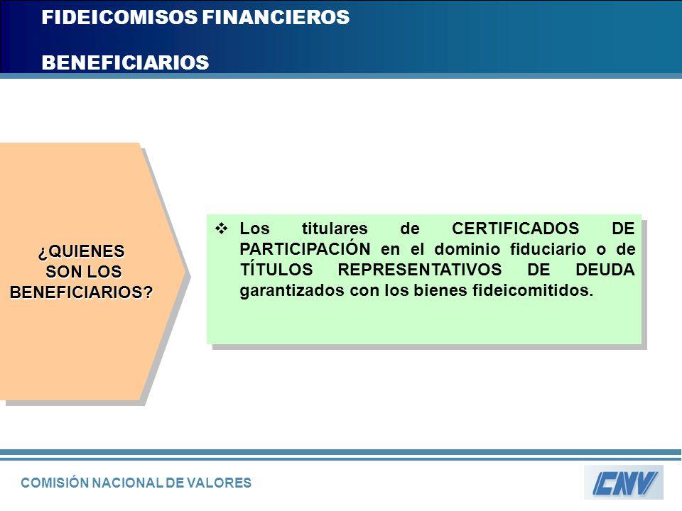 COMISIÓN NACIONAL DE VALORES FIDEICOMISOS FINANCIEROS BENEFICIARIOS Los titulares de CERTIFICADOS DE PARTICIPACIÓN en el dominio fiduciario o de TÍTUL