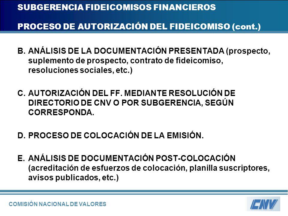 COMISIÓN NACIONAL DE VALORES SUBGERENCIA FIDEICOMISOS FINANCIEROS PROCESO DE AUTORIZACIÓN DEL FIDEICOMISO (cont.) B.ANÁLISIS DE LA DOCUMENTACIÓN PRESE