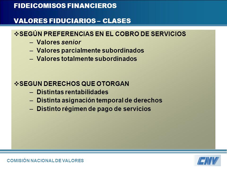 COMISIÓN NACIONAL DE VALORES FIDEICOMISOS FINANCIEROS VALORES FIDUCIARIOS – CLASES SEGÚN PREFERENCIAS EN EL COBRO DE SERVICIOS –Valores senior –Valore