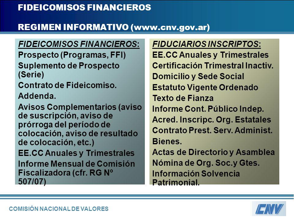 COMISIÓN NACIONAL DE VALORES FIDEICOMISOS FINANCIEROS REGIMEN INFORMATIVO (www.cnv.gov.ar) FIDEICOMISOS FINANCIEROS: Prospecto (Programas, FFI) Suplem