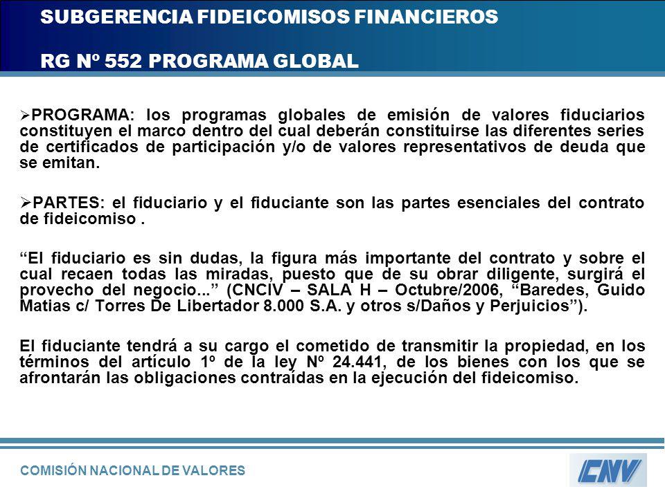 COMISIÓN NACIONAL DE VALORES SUBGERENCIA FIDEICOMISOS FINANCIEROS RG Nº 552 PROGRAMA GLOBAL PROGRAMA: los programas globales de emisión de valores fid