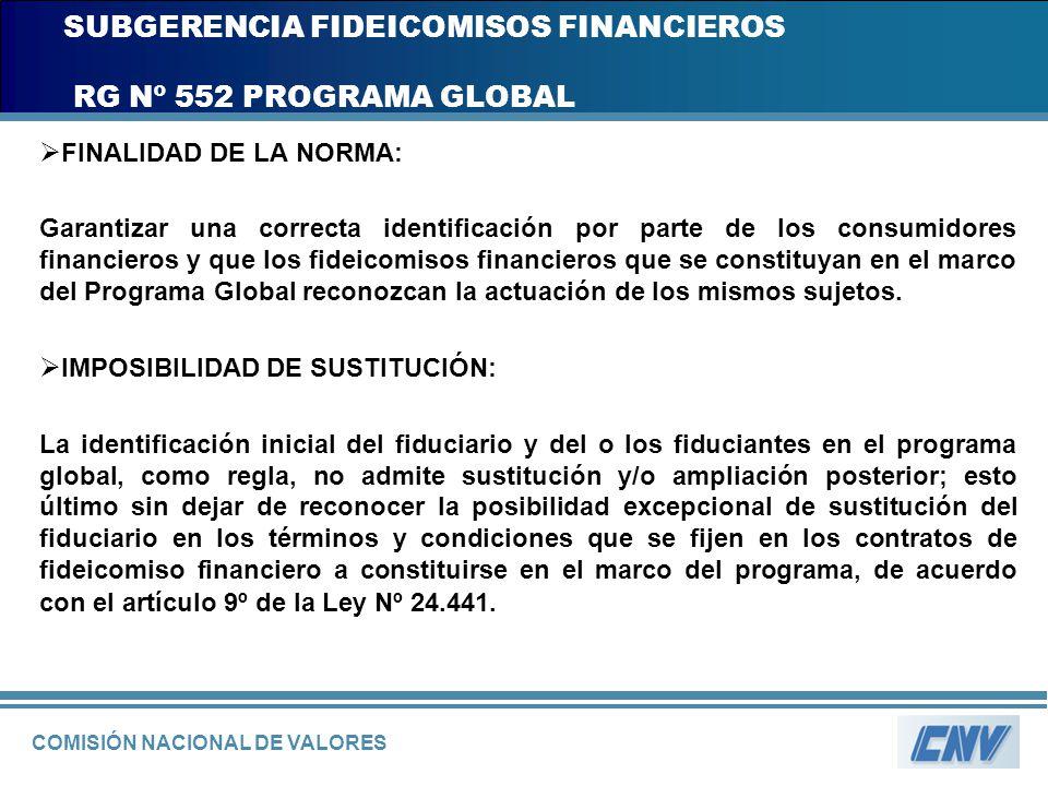 COMISIÓN NACIONAL DE VALORES SUBGERENCIA FIDEICOMISOS FINANCIEROS RG Nº 552 PROGRAMA GLOBAL FINALIDAD DE LA NORMA: Garantizar una correcta identificac