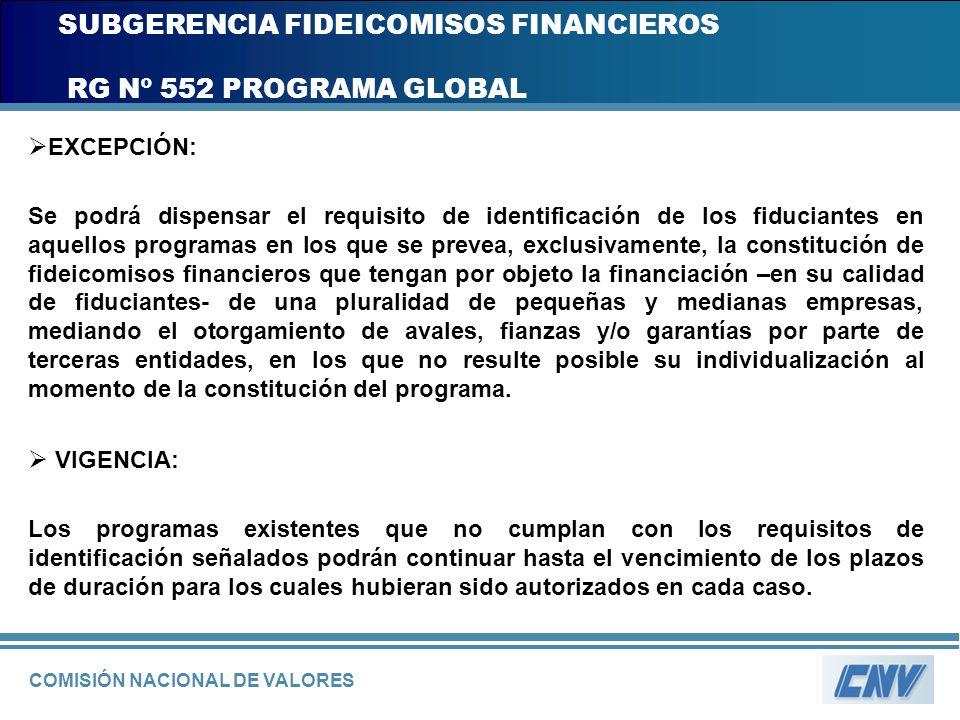 COMISIÓN NACIONAL DE VALORES SUBGERENCIA FIDEICOMISOS FINANCIEROS RG Nº 552 PROGRAMA GLOBAL EXCEPCIÓN: Se podrá dispensar el requisito de identificaci