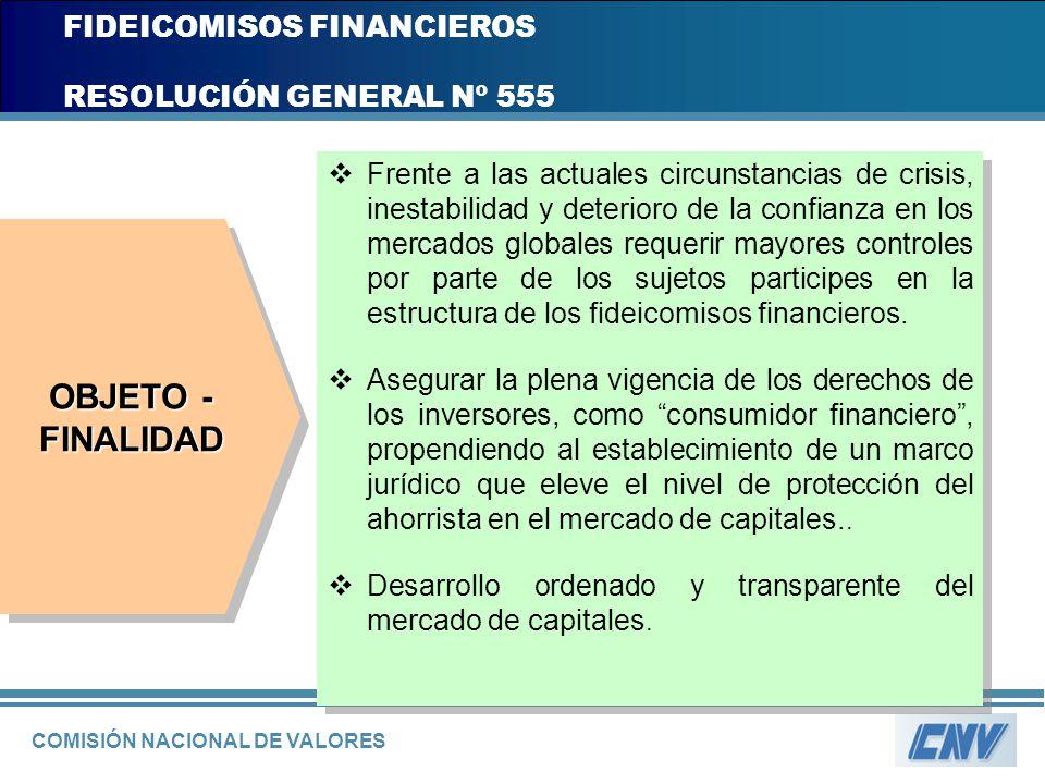 COMISIÓN NACIONAL DE VALORES FIDEICOMISOS FINANCIEROS RESOLUCIÓN GENERAL Nº 555 Frente a las actuales circunstancias de crisis, inestabilidad y deteri