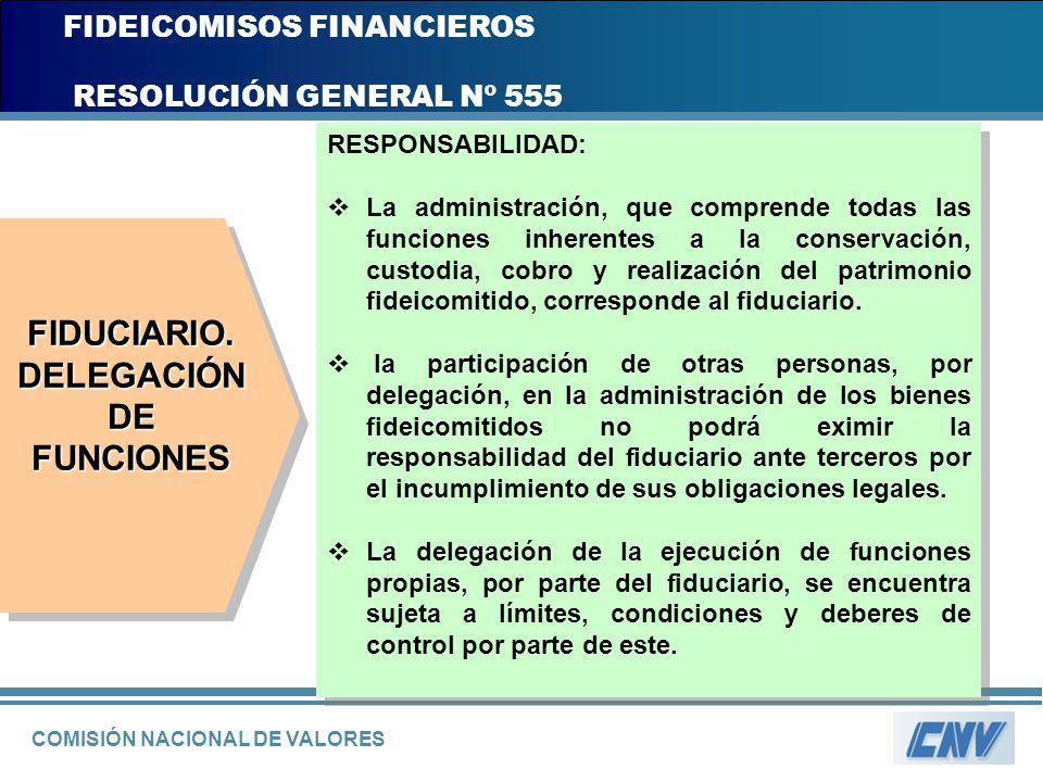 COMISIÓN NACIONAL DE VALORES FIDEICOMISOS FINANCIEROS RESOLUCIÓN GENERAL Nº 555 RESPONSABILIDAD: La administración, que comprende todas las funciones