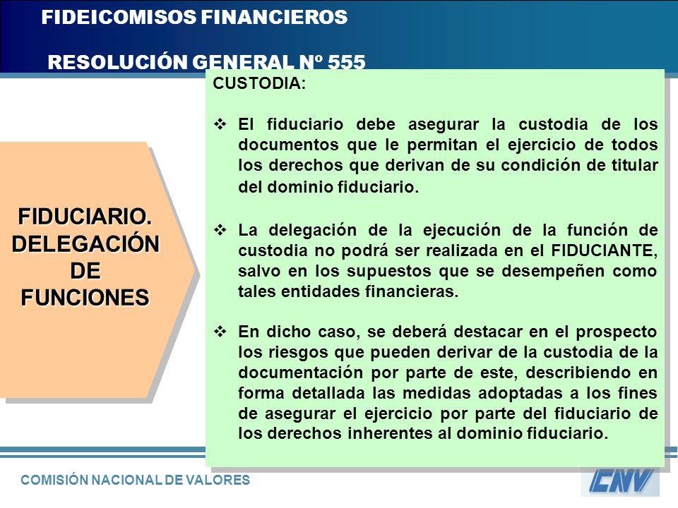 COMISIÓN NACIONAL DE VALORES FIDEICOMISOS FINANCIEROS RESOLUCIÓN GENERAL Nº 555 CUSTODIA: El fiduciario debe asegurar la custodia de los documentos qu