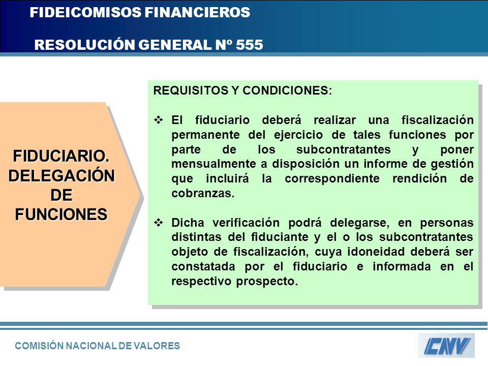 COMISIÓN NACIONAL DE VALORES FIDEICOMISOS FINANCIEROS RESOLUCIÓN GENERAL Nº 555 REQUISITOS Y CONDICIONES: El fiduciario deberá realizar una fiscalizac