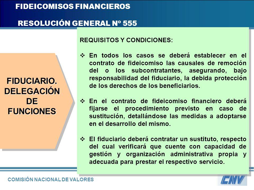 COMISIÓN NACIONAL DE VALORES FIDEICOMISOS FINANCIEROS RESOLUCIÓN GENERAL Nº 555 REQUISITOS Y CONDICIONES: En todos los casos se deberá establecer en e