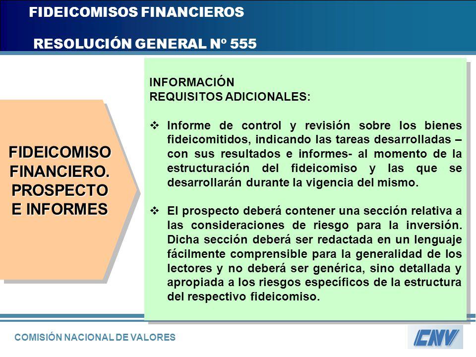 COMISIÓN NACIONAL DE VALORES FIDEICOMISOS FINANCIEROS RESOLUCIÓN GENERAL Nº 555 INFORMACIÓN REQUISITOS ADICIONALES: Informe de control y revisión sobr