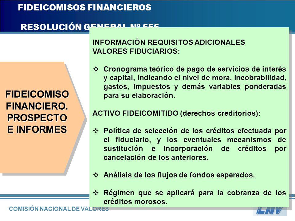 COMISIÓN NACIONAL DE VALORES FIDEICOMISOS FINANCIEROS RESOLUCIÓN GENERAL Nº 555 INFORMACIÓN REQUISITOS ADICIONALES VALORES FIDUCIARIOS: Cronograma teó