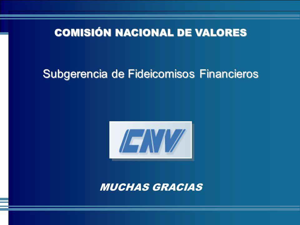 COMISIÓN NACIONAL DE VALORES MUCHAS GRACIAS COMISIÓN NACIONAL DE VALORES Subgerencia de Fideicomisos Financieros