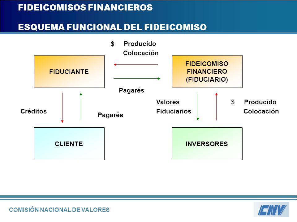 COMISIÓN NACIONAL DE VALORES FIDEICOMISOS FINANCIEROS ESQUEMA FUNCIONAL DEL FIDEICOMISO FIDUCIANTE CLIENTEINVERSORES FIDEICOMISO FINANCIERO (FIDUCIARI