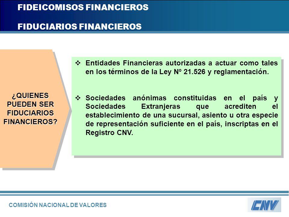 COMISIÓN NACIONAL DE VALORES FIDEICOMISOS FINANCIEROS FIDUCIARIOS FINANCIEROS Entidades Financieras autorizadas a actuar como tales en los términos de
