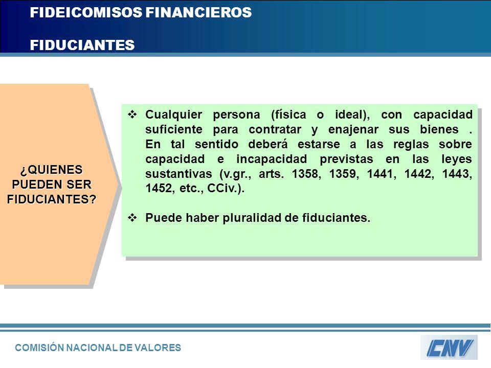 COMISIÓN NACIONAL DE VALORES FIDEICOMISOS FINANCIEROS FIDUCIANTES Cualquier persona (física o ideal), con capacidad suficiente para contratar y enajen