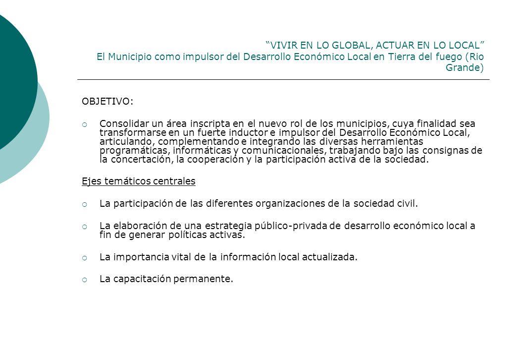 VIVIR EN LO GLOBAL, ACTUAR EN LO LOCAL El Municipio como impulsor del Desarrollo Económico Local en Tierra del fuego (Rio Grande) OBJETIVO: Consolidar