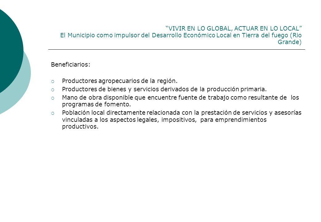 VIVIR EN LO GLOBAL, ACTUAR EN LO LOCAL El Municipio como impulsor del Desarrollo Económico Local en Tierra del fuego (Rio Grande) Beneficiarios: Productores agropecuarios de la región.