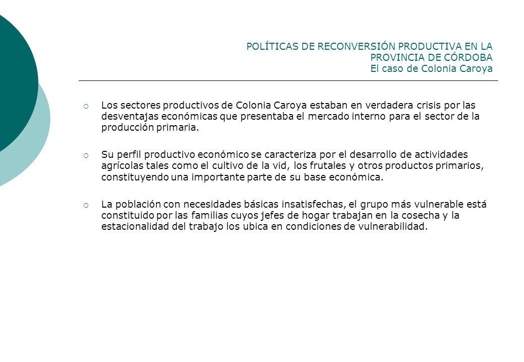 POLÍTICAS DE RECONVERSIÓN PRODUCTIVA EN LA PROVINCIA DE CÓRDOBA El caso de Colonia Caroya Los sectores productivos de Colonia Caroya estaban en verdad