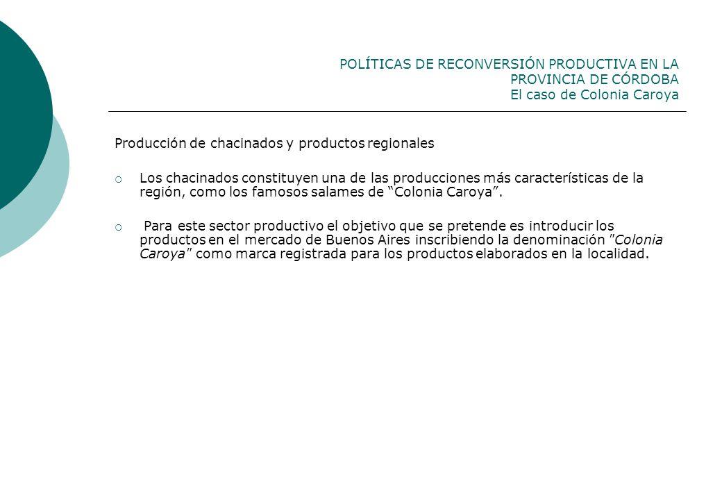 POLÍTICAS DE RECONVERSIÓN PRODUCTIVA EN LA PROVINCIA DE CÓRDOBA El caso de Colonia Caroya Producción de chacinados y productos regionales Los chacinad