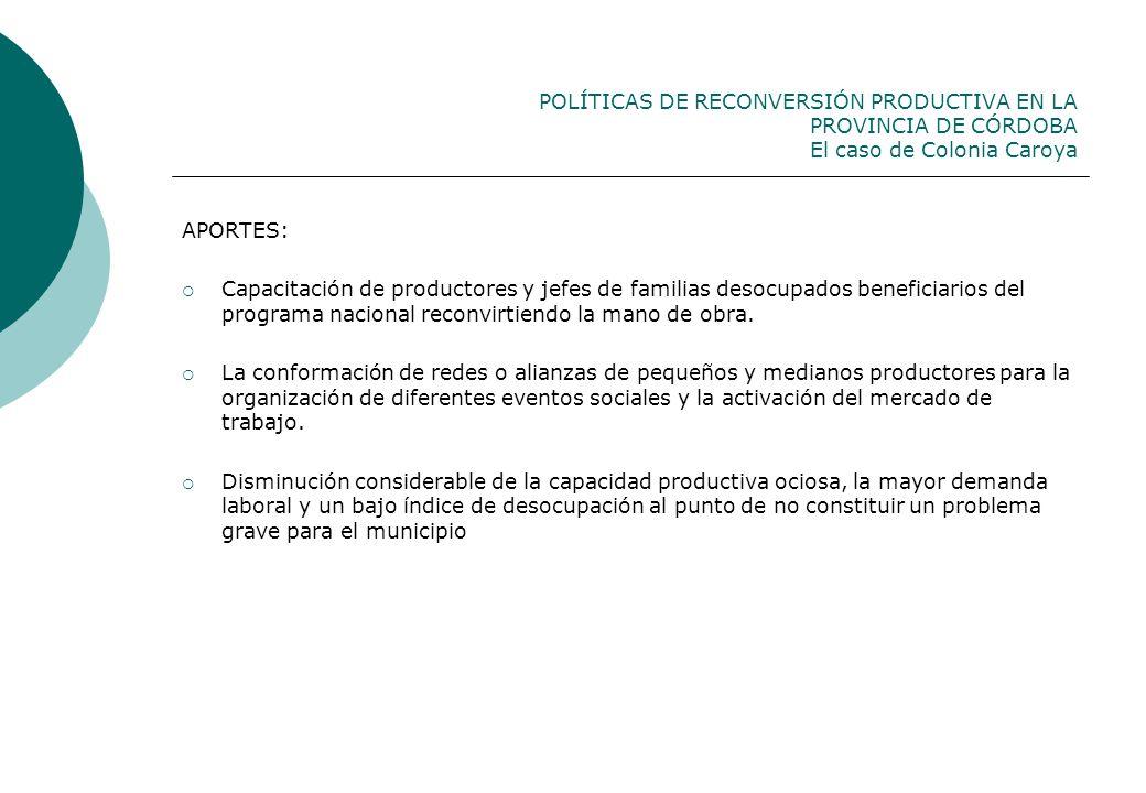 POLÍTICAS DE RECONVERSIÓN PRODUCTIVA EN LA PROVINCIA DE CÓRDOBA El caso de Colonia Caroya APORTES: Capacitación de productores y jefes de familias des