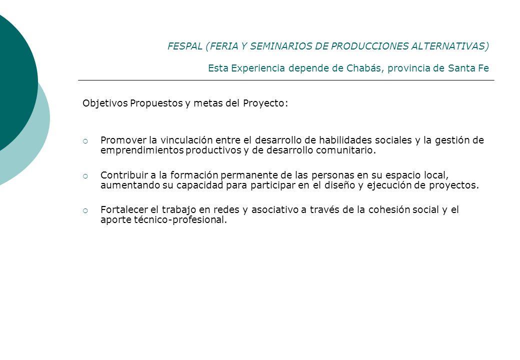 FESPAL (FERIA Y SEMINARIOS DE PRODUCCIONES ALTERNATIVAS) Esta Experiencia depende de Chabás, provincia de Santa Fe Objetivos Propuestos y metas del Pr