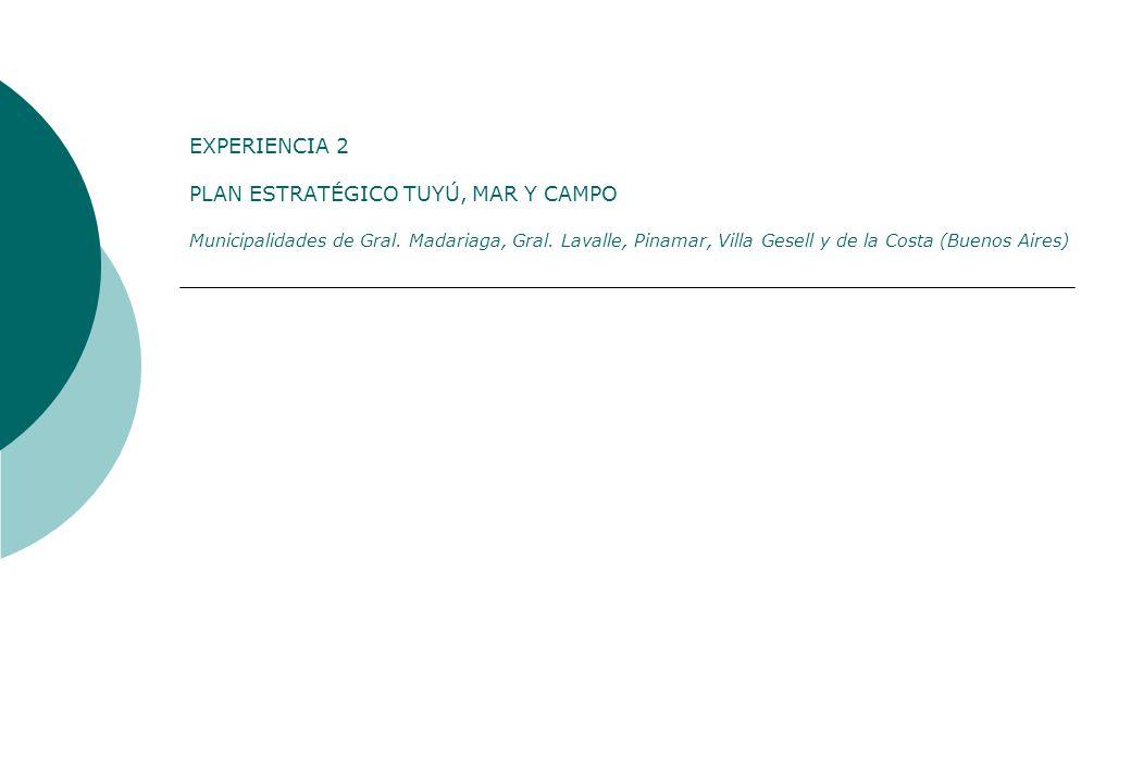 EXPERIENCIA 2 PLAN ESTRATÉGICO TUYÚ, MAR Y CAMPO Municipalidades de Gral. Madariaga, Gral. Lavalle, Pinamar, Villa Gesell y de la Costa (Buenos Aires)