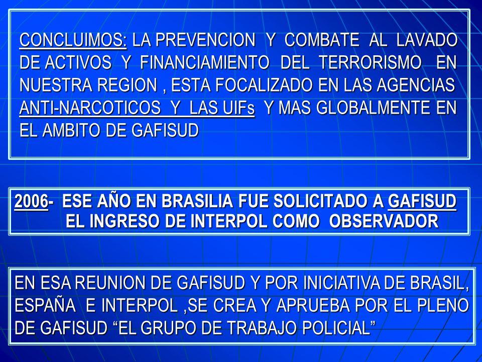 CRONOLOGIA DE ACCIONES 2005- INTERPOL DA UN GRAN IMPULSO A LAS OFICINAS REGIONALES E INCREMENTA EL NUMERO DE OFICIALES DE LOS PAISES DE LA REGION 2005- INTERPOL DA UN GRAN IMPULSO A LAS OFICINAS REGIONALES E INCREMENTA EL NUMERO DE OFICIALES DE LOS PAISES DE LA REGION INICIAMOS ACTIVIDADES EN DIVERSAS AREAS CRIMINALES Y DENTRO DE ELLAS LAVADO DE ACTIVOS NOS PREGUNTAMOS DONDE PODIA TRABAJAR INTERPOL PARA SER MAS UTIL A LAS AGENCIAS QUE ACTUAN EN ESTA MATERIA