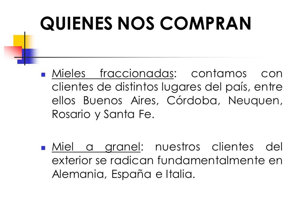 QUIENES NOS COMPRAN Mieles fraccionadas: contamos con clientes de distintos lugares del país, entre ellos Buenos Aires, Córdoba, Neuquen, Rosario y Santa Fe.