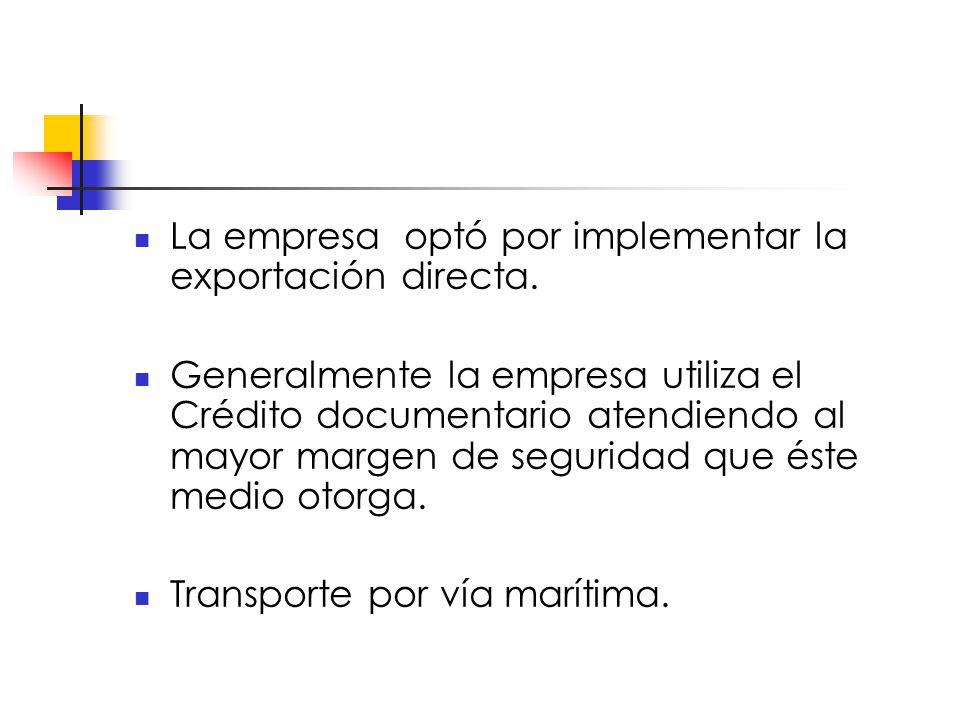 La empresa optó por implementar la exportación directa.