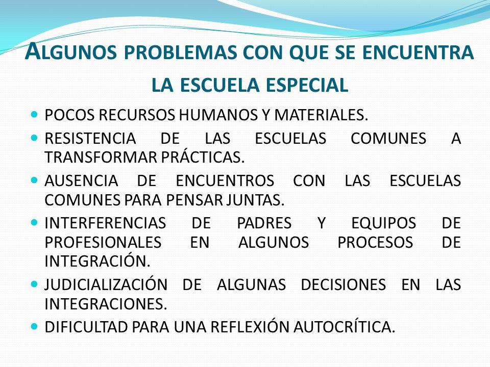 A LGUNOS PROBLEMAS CON QUE SE ENCUENTRA LA ESCUELA ESPECIAL POCOS RECURSOS HUMANOS Y MATERIALES. RESISTENCIA DE LAS ESCUELAS COMUNES A TRANSFORMAR PRÁ