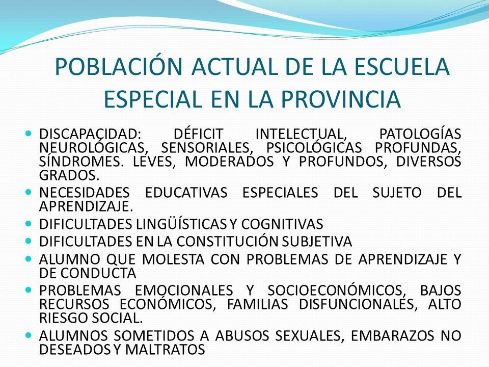 POBLACIÓN ACTUAL DE LA ESCUELA ESPECIAL EN LA PROVINCIA DISCAPACIDAD: DÉFICIT INTELECTUAL, PATOLOGÍAS NEUROLÓGICAS, SENSORIALES, PSICOLÓGICAS PROFUNDA
