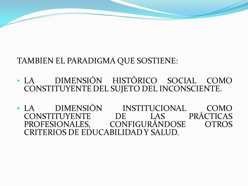 TAMBIEN EL PARADIGMA QUE SOSTIENE: LA DIMENSIÓN HISTÓRICO SOCIAL COMO CONSTITUYENTE DEL SUJETO DEL INCONSCIENTE. LA DIMENSIÓN INSTITUCIONAL COMO CONST