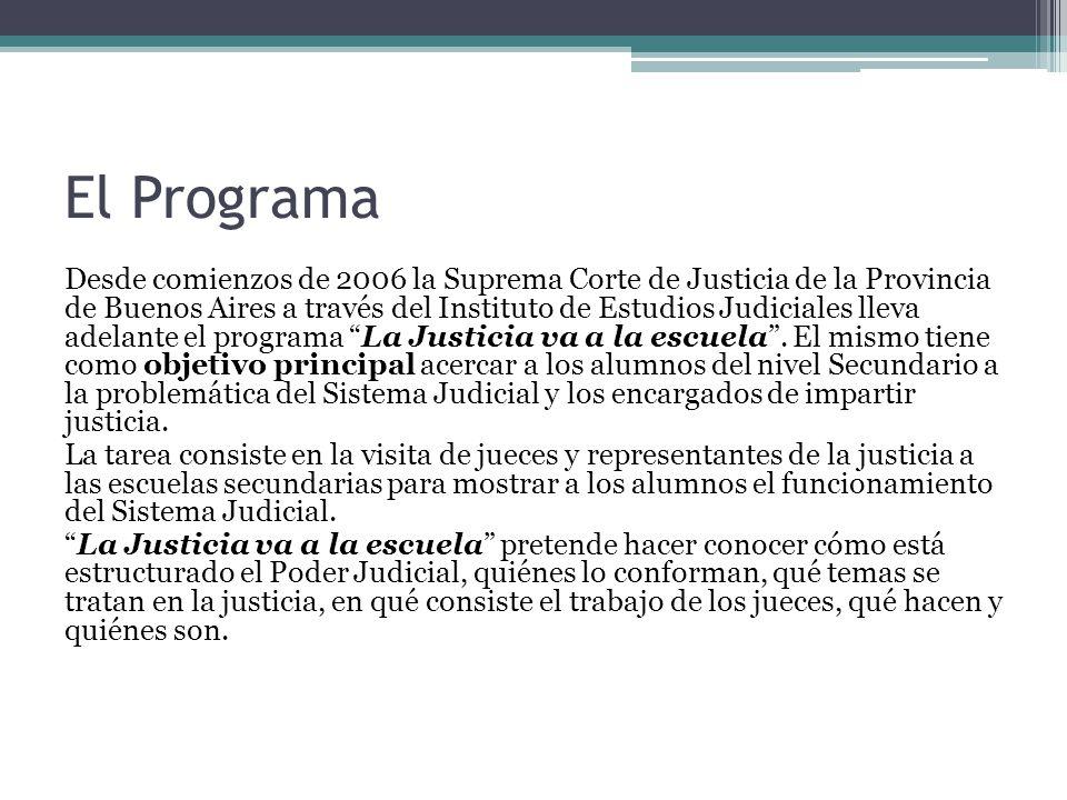 El Programa Desde comienzos de 2006 la Suprema Corte de Justicia de la Provincia de Buenos Aires a través del Instituto de Estudios Judiciales lleva adelante el programa La Justicia va a la escuela.