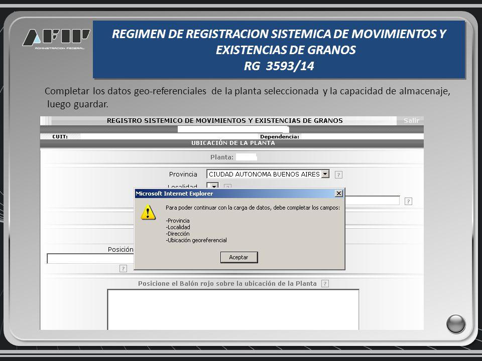 Al seleccionar la opción DECLARACIÓN DE EXISTENCIAS INICIALES se desplegarán todas las plantas que el operador tiene habilitadas por el organismo competente para las actividades registradas en función de la CUIT indicada.