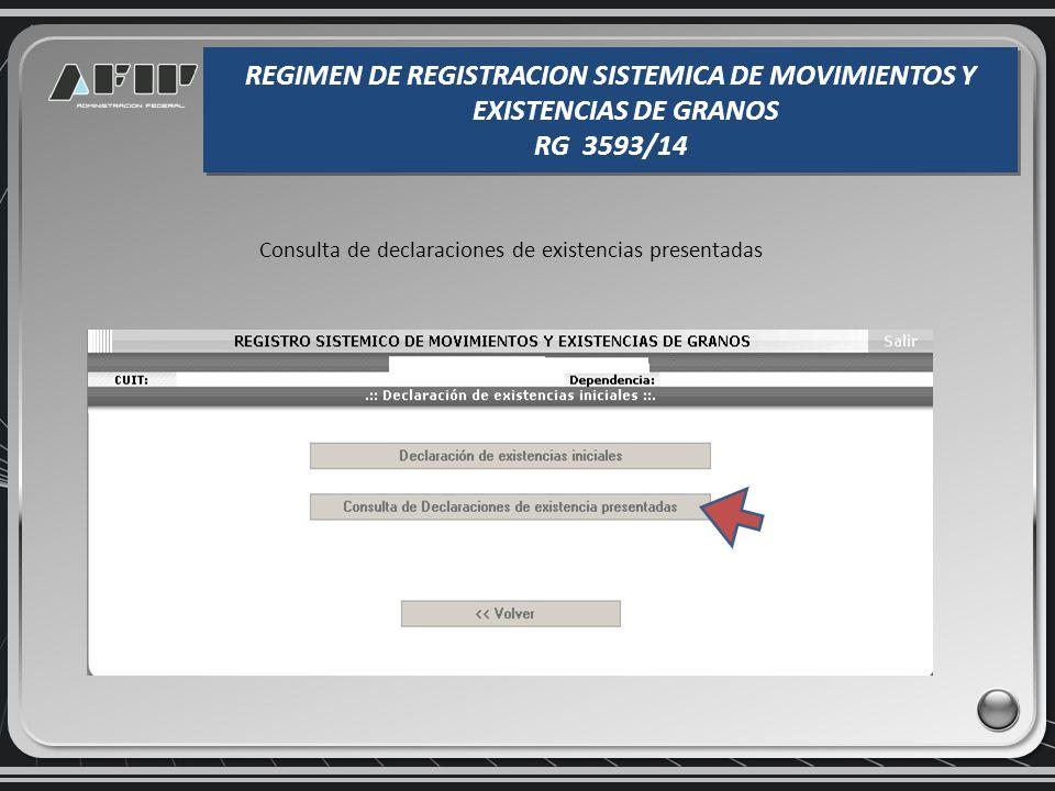 Constancia de presentación de la existencia inicial REGIMEN DE REGISTRACION SISTEMICA DE MOVIMIENTOS Y EXISTENCIAS DE GRANOS RG 3593/14 REGIMEN DE REG