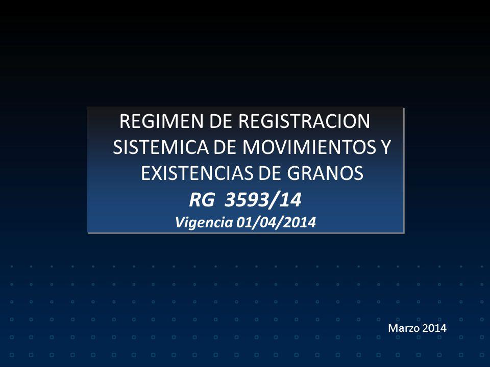 REGIMEN DE REGISTRACION SISTEMICA DE MOVIMIENTOS Y EXISTENCIAS DE GRANOS RG 3593/14 Vigencia 01/04/2014 REGIMEN DE REGISTRACION SISTEMICA DE MOVIMIENTOS Y EXISTENCIAS DE GRANOS RG 3593/14 Vigencia 01/04/2014 Marzo 2014