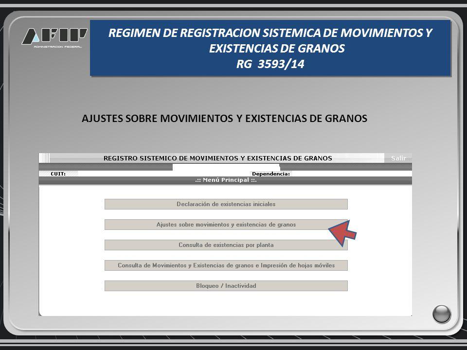 En el item presentación se detalla si la misma es original o rectificativa. REGIMEN DE REGISTRACION SISTEMICA DE MOVIMIENTOS Y EXISTENCIAS DE GRANOS R