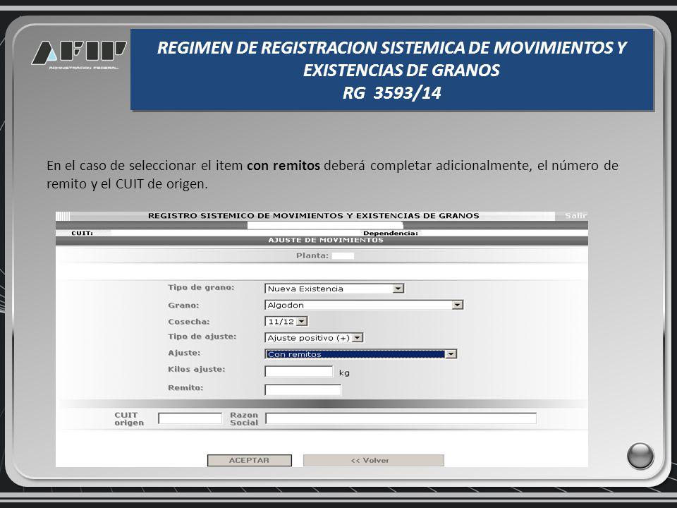 Los ingresos y egresos con con Carta de Porte el Transporte Ferroviario de Granos, requieren consignar el número del documento el CUIT de origen/desti