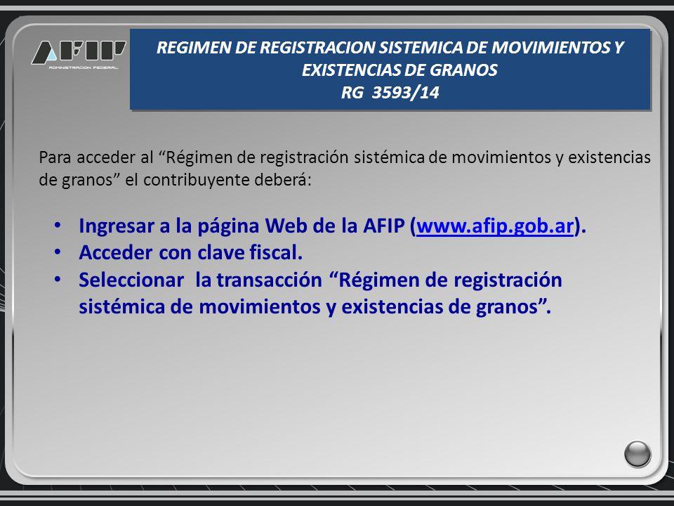 Consulta de existencias por planta REGIMEN DE REGISTRACION SISTEMICA DE MOVIMIENTOS Y EXISTENCIAS DE GRANOS RG 3593/14 REGIMEN DE REGISTRACION SISTEMICA DE MOVIMIENTOS Y EXISTENCIAS DE GRANOS RG 3593/14
