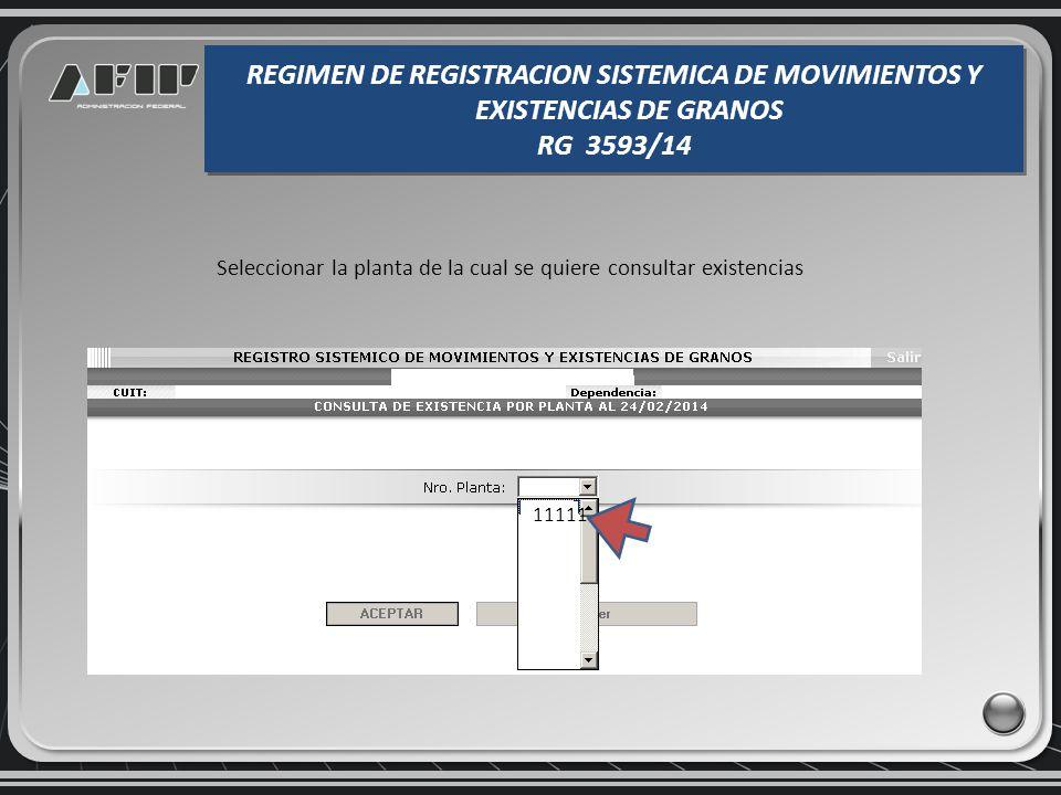 Consulta de existencias por planta REGIMEN DE REGISTRACION SISTEMICA DE MOVIMIENTOS Y EXISTENCIAS DE GRANOS RG 3593/14 REGIMEN DE REGISTRACION SISTEMI