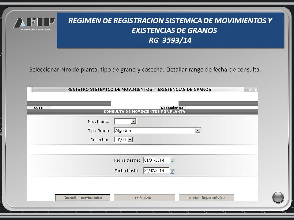 Consulta de movimientos y existencias de granos e impresión de hojas móviles REGIMEN DE REGISTRACION SISTEMICA DE MOVIMIENTOS Y EXISTENCIAS DE GRANOS RG 3593/14 REGIMEN DE REGISTRACION SISTEMICA DE MOVIMIENTOS Y EXISTENCIAS DE GRANOS RG 3593/14