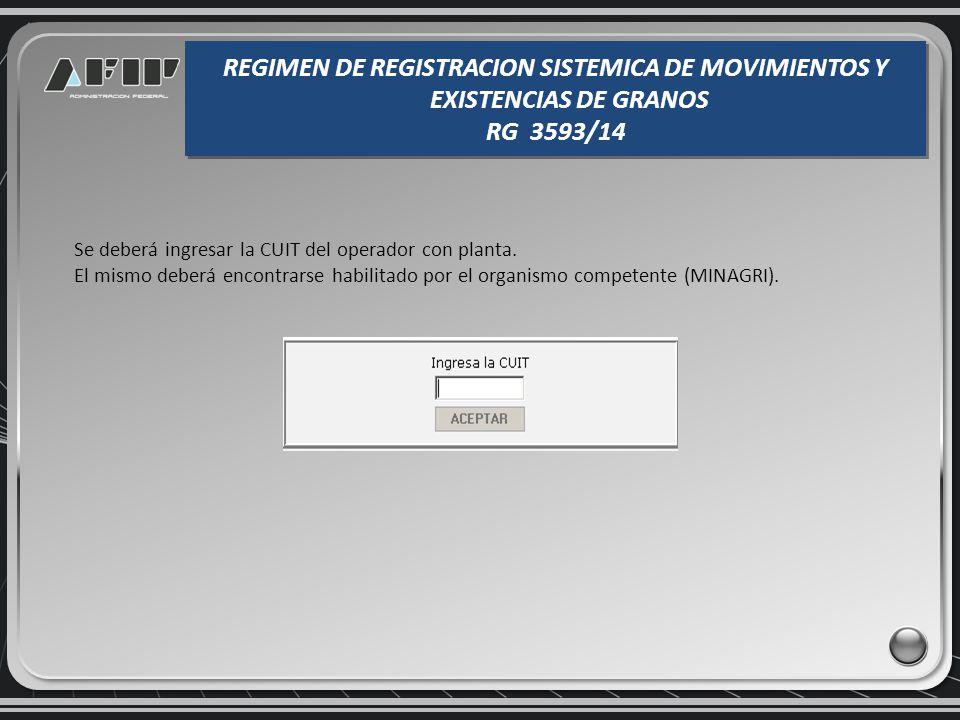 Constancia de presentación de la existencia inicial REGIMEN DE REGISTRACION SISTEMICA DE MOVIMIENTOS Y EXISTENCIAS DE GRANOS RG 3593/14 REGIMEN DE REGISTRACION SISTEMICA DE MOVIMIENTOS Y EXISTENCIAS DE GRANOS RG 3593/14