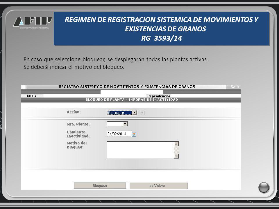Bloqueo/Inactividad REGIMEN DE REGISTRACION SISTEMICA DE MOVIMIENTOS Y EXISTENCIAS DE GRANOS RG 3593/14 REGIMEN DE REGISTRACION SISTEMICA DE MOVIMIENT