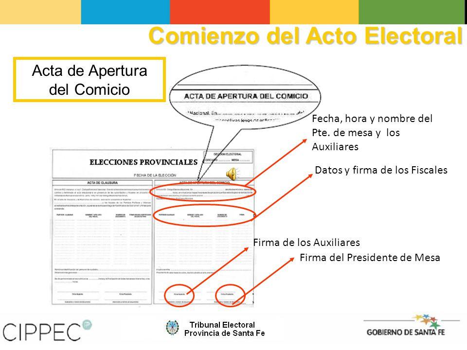 Acta de Apertura del Comicio Datos y firma de los Fiscales Firma de los Auxiliares Firma del Presidente de Mesa Fecha, hora y nombre del Pte.