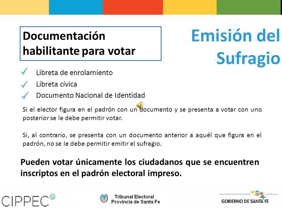Libreta de enrolamiento Libreta cívica Documento Nacional de Identidad Pueden votar únicamente los ciudadanos que se encuentren inscriptos en el padrón electoral impreso.