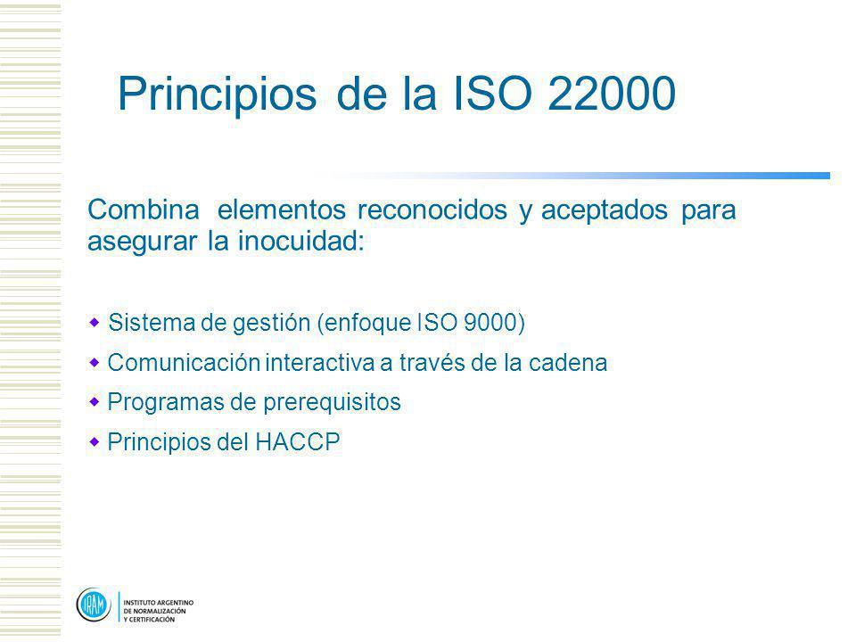 Principios de la ISO 22000 Combina elementos reconocidos y aceptados para asegurar la inocuidad: Sistema de gestión (enfoque ISO 9000) Comunicación interactiva a través de la cadena Programas de prerequisitos Principios del HACCP