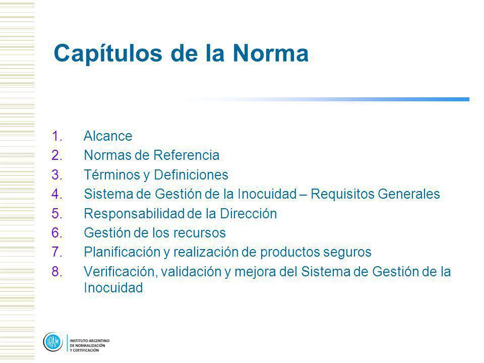 Capítulos de la Norma 1.Alcance 2.Normas de Referencia 3.Términos y Definiciones 4.Sistema de Gestión de la Inocuidad – Requisitos Generales 5.Responsabilidad de la Dirección 6.Gestión de los recursos 7.Planificación y realización de productos seguros 8.Verificación, validación y mejora del Sistema de Gestión de la Inocuidad