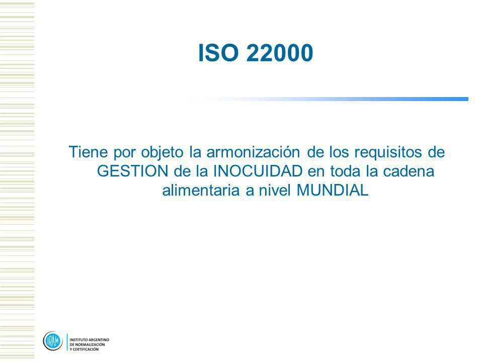 ISO 22000 Tiene por objeto la armonización de los requisitos de GESTION de la INOCUIDAD en toda la cadena alimentaria a nivel MUNDIAL