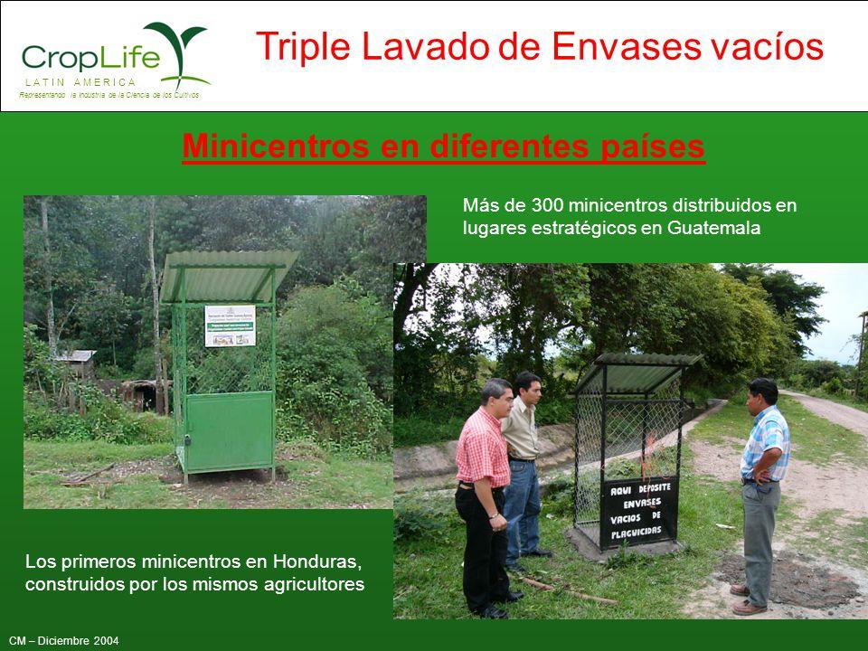 L A T I N A M E R I C A Representando la Industria de la Ciencia de los Cultivos CM – Diciembre 2004 Triple Lavado de Envases vacíos Más de 300 minice