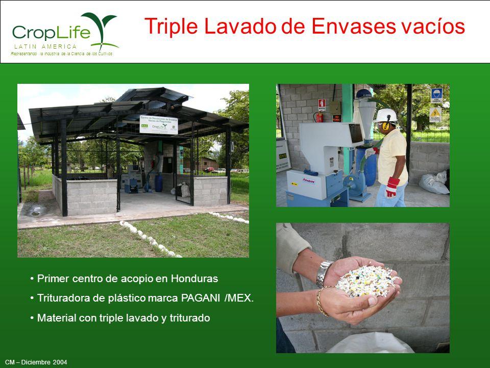 L A T I N A M E R I C A Representando la Industria de la Ciencia de los Cultivos CM – Diciembre 2004 Triple Lavado de Envases vacíos Primer centro de