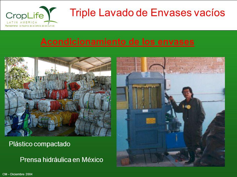 L A T I N A M E R I C A Representando la Industria de la Ciencia de los Cultivos CM – Diciembre 2004 Triple Lavado de Envases vacíos Prensa hidráulica